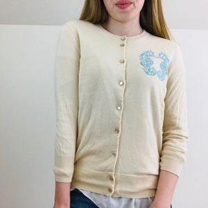 J. Crew seahorse cardigan sweater size XS nautical